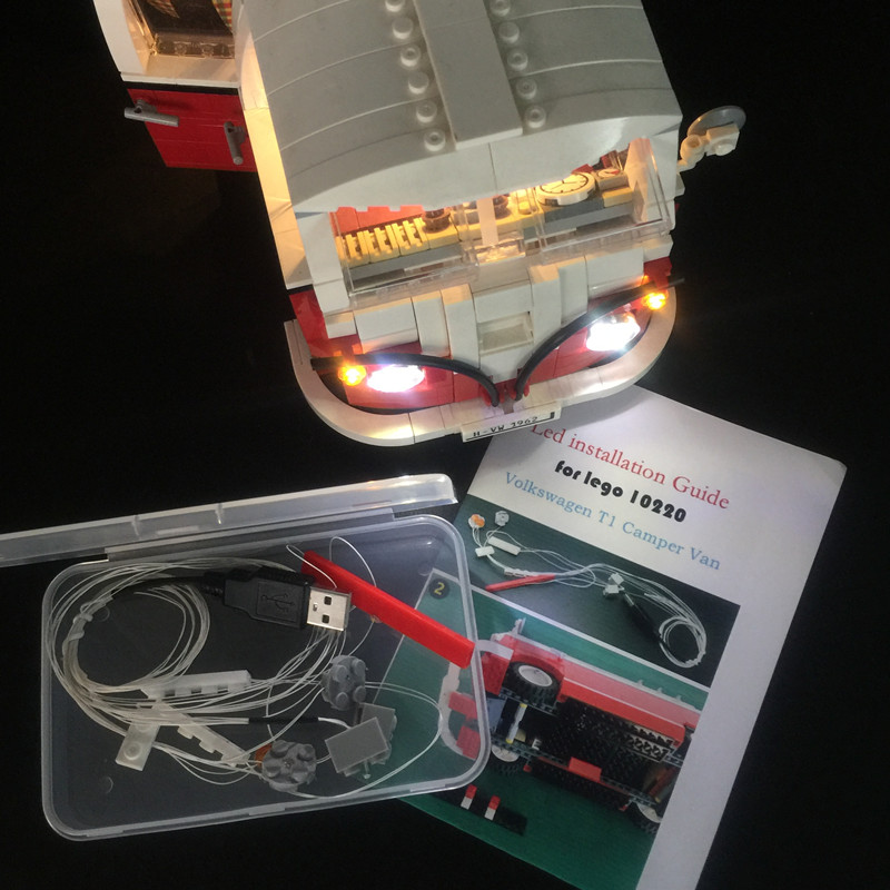 Luz LED kit (sólo luz incluido) para lego technic 10220 Compatible con 21001 creador de la serie T1 Camper Van bloques