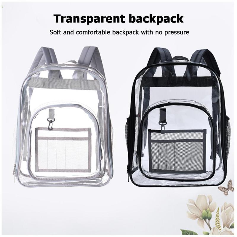 Waterproof PVC Transparent Women Backpack Baby Diaper Bags Students School Bag Home Organizer Large Capacity Travel Storage Bags
