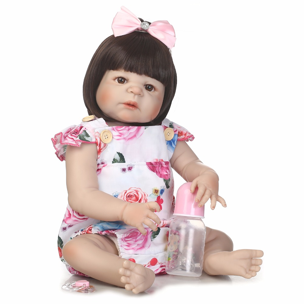 New 55cm Full Body Silicone Reborn Girl Baby Like Real Doll Toys 22inch Newborn Princess Toddler Babies Doll Cute Birthday Gift 55cm full silicone body reborn baby doll toys like real 22inch newborn boy babies toddler dolls birthday present girls bathe toy
