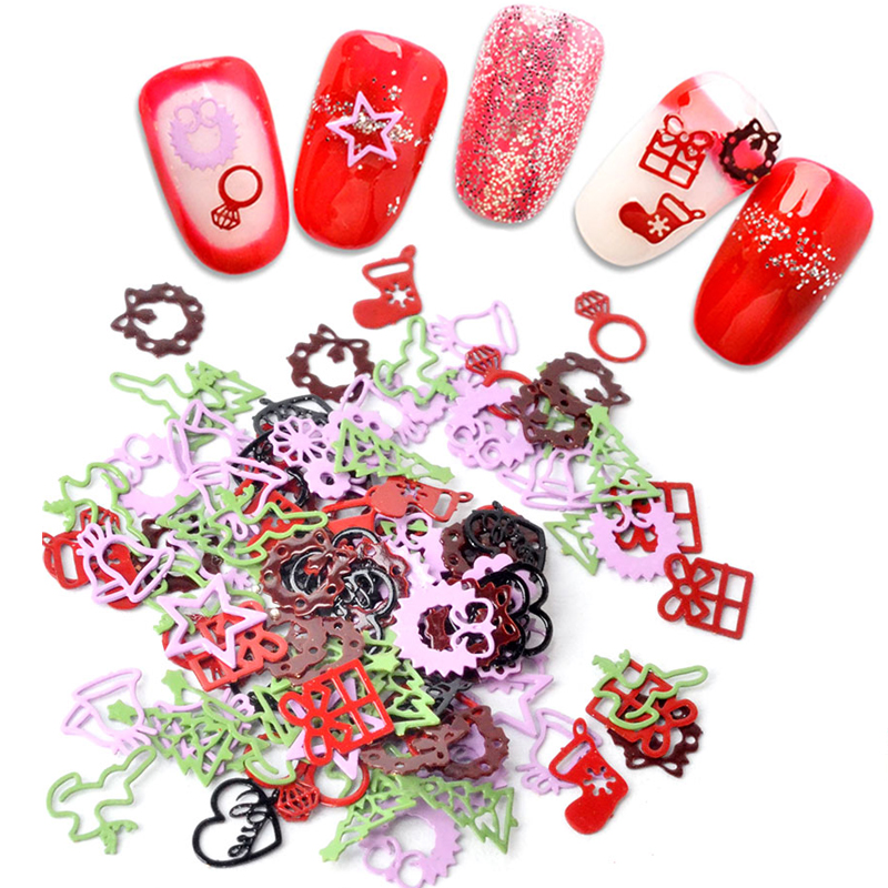 1 Box 3D Ultra thin Metal Slices Nail Art Sequins Mixed Christmas Decorations Manicure DIY in Rhinestones Decorations from Beauty Health