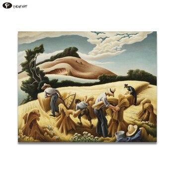 Chenfart lienzo arte de pared Thomas Hart Benton. Pintura al óleo de paisaje de trigo 1938 para sala de estar y oficina