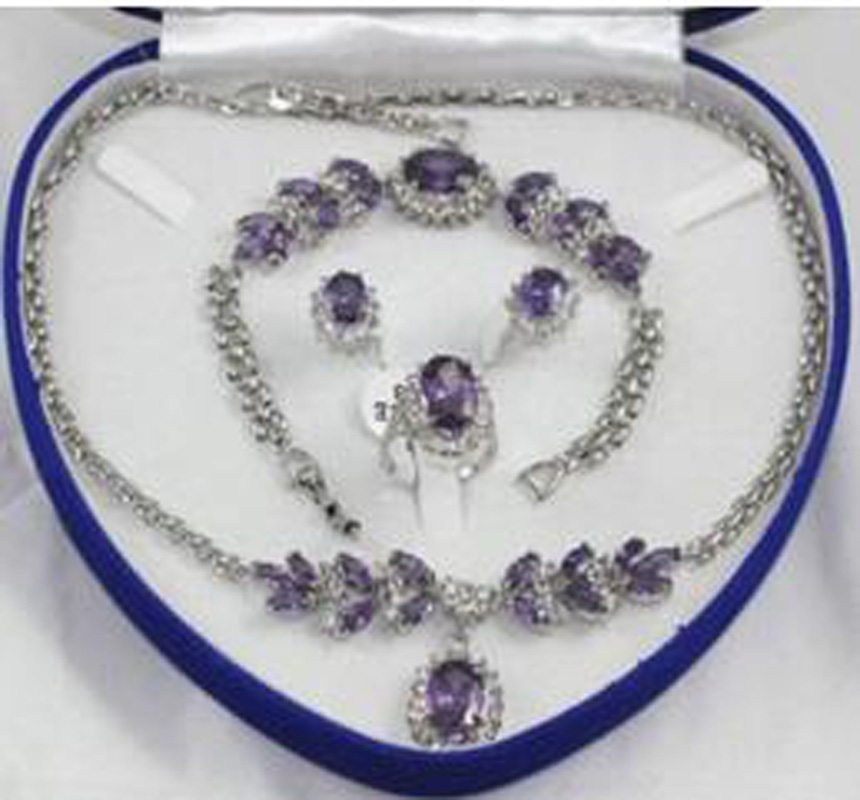 New Bridal Fashion Jewellery Women 's Necklace Bracelet Earring Ring Set more color