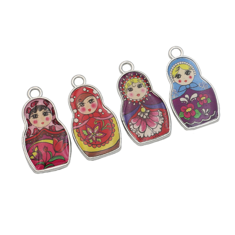 4pcs Stainless Steel Retro Style Enamel Russian Toys Charms Pendants for Jewelry Making Bracelet Diy Jewelry Findings