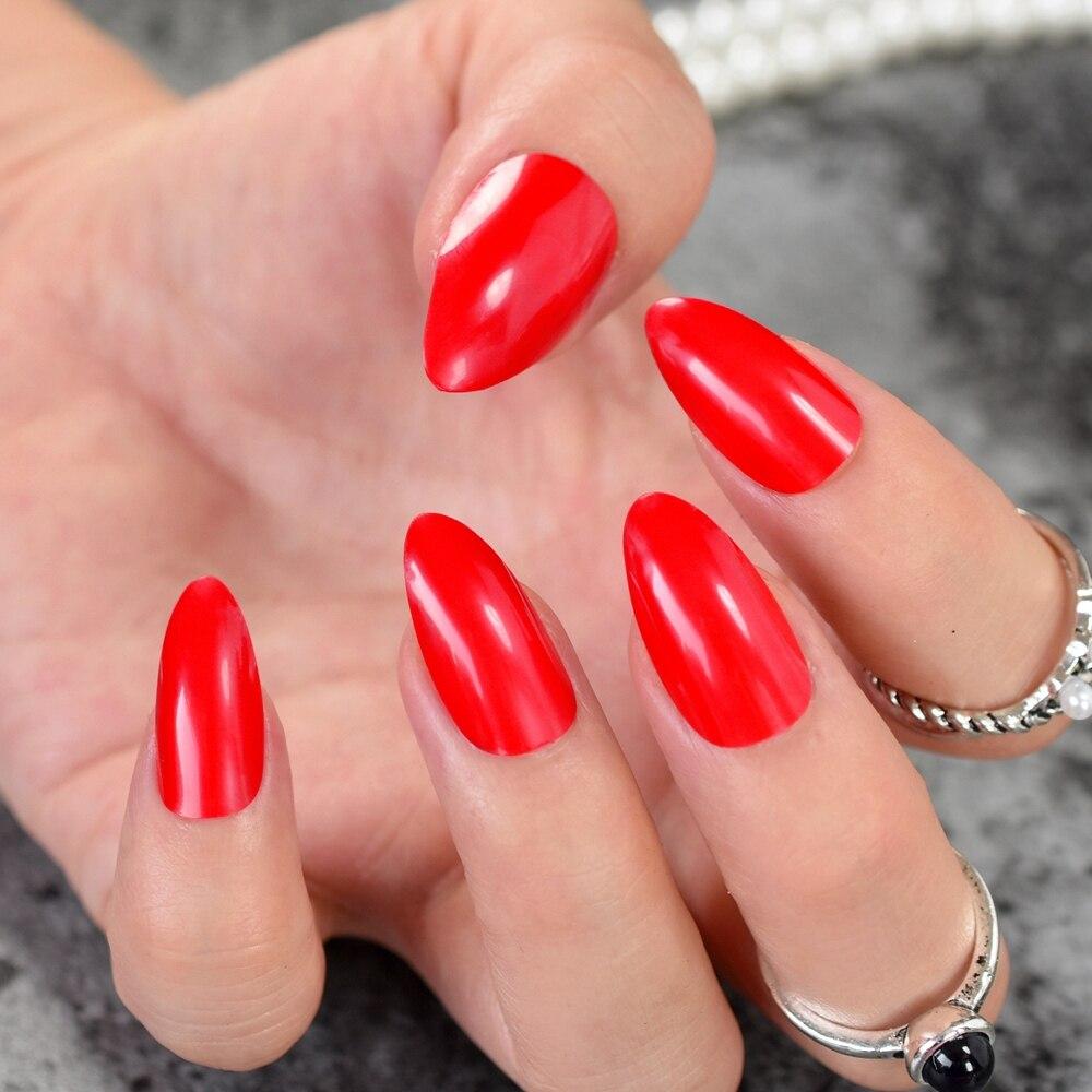 24 Stücke Rot Süßigkeitfarbe Kurz Stiletto Nails Spitzen Falschen ...
