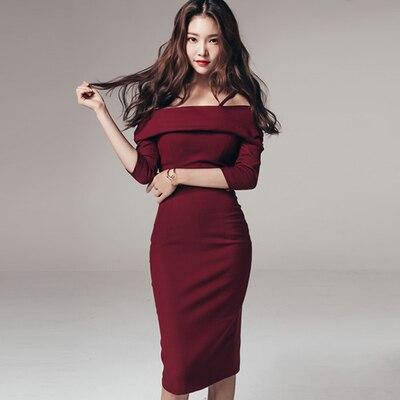 New 2018 Women Sexy Club Wear Party Dress Fashion Wine Half Sleeve Spaghetti Strap Ruffles Slim Bodycon Dresses ropa mujer