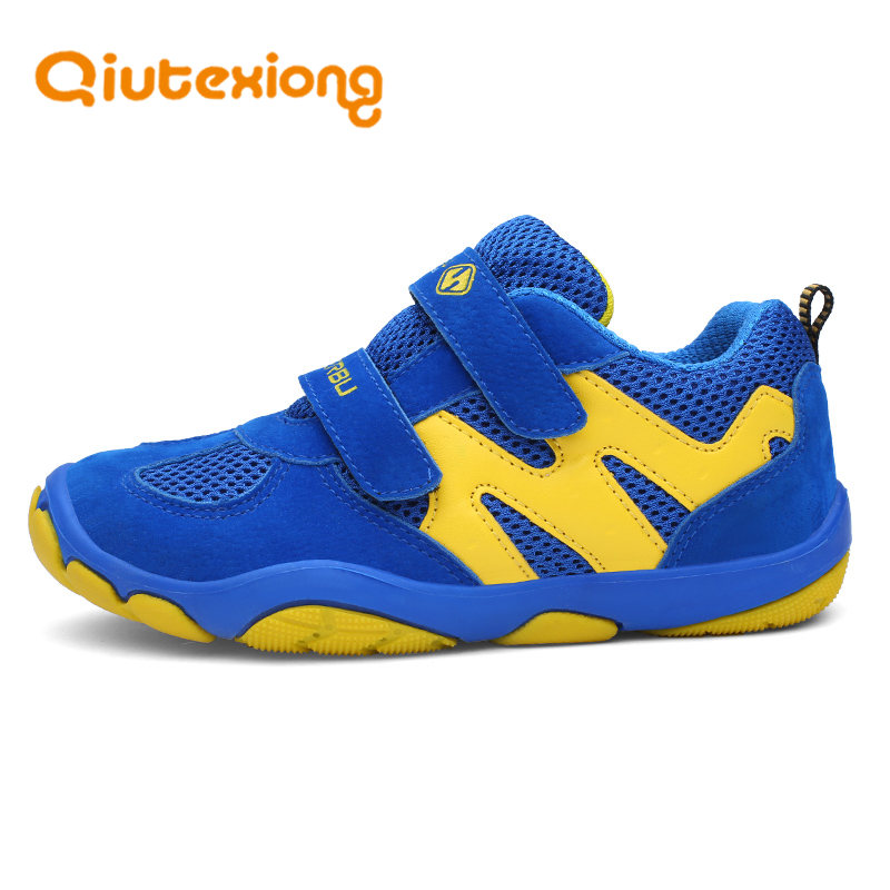 QIUTEXIONG Kids Sport Shoes For Boys Sneakers Children Breathable Mesh Trainer School Running Outdoor Anti-slippery Hook&Loop