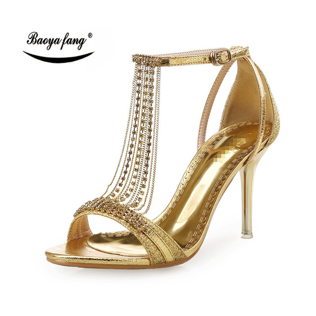 db78f73af86a9 BaoYaFang Golden crystal Summer Sandals womens fashion shoes Bride party  dress shoes high heels ladies Sandals leather Sandals