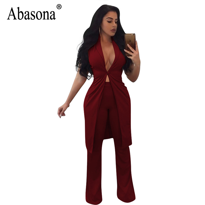 Abasona Rompers Womens Jumpsuits Sexy V Neck Sleeveless Wide Leg Jumpsuit Women Club Wear Overalls Two Piece Playsuits