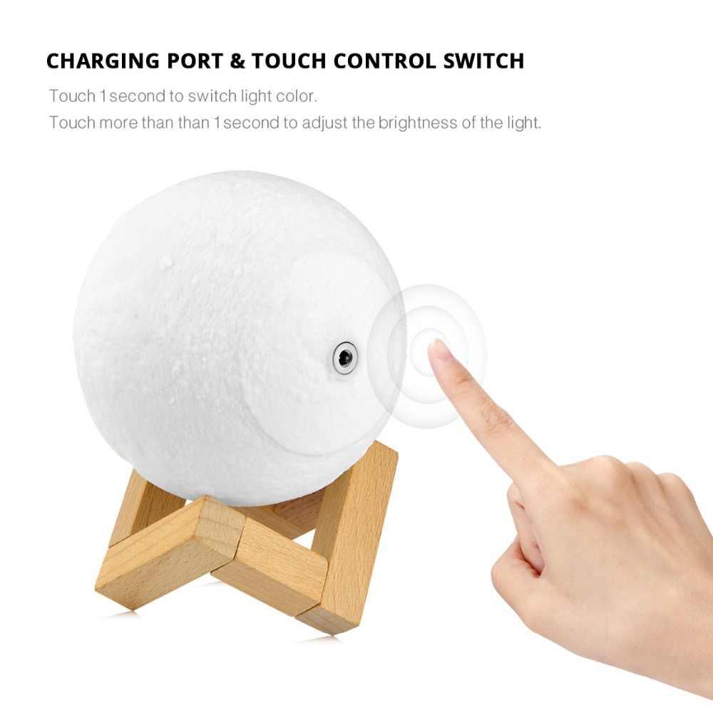 Луна светодио дный светодиодный ночник 3D принт лунный свет лампа 3 цвета Изменение яркости Регулировка светодио дный LED Настольная лампа USB зарядка декоративная лампа