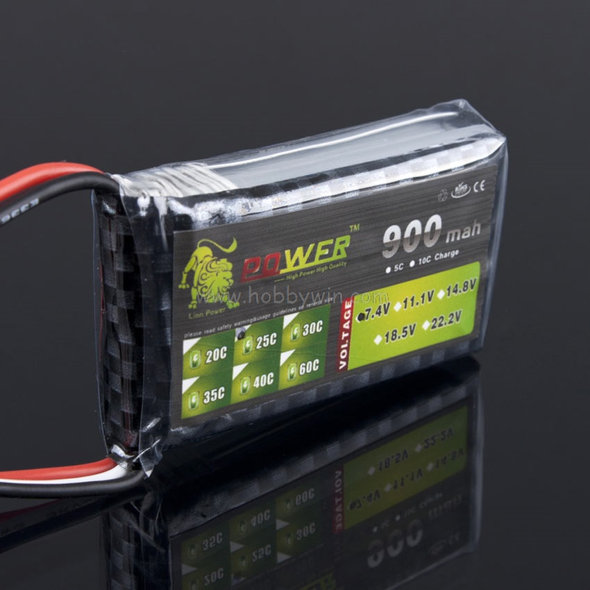 LION Power <font><b>7.4V</b></font> <font><b>900mAh</b></font> 25C/22.5A LiPo <font><b>battery</b></font> JST plug Burst 50C <font><b>RC</b></font> model power pack image