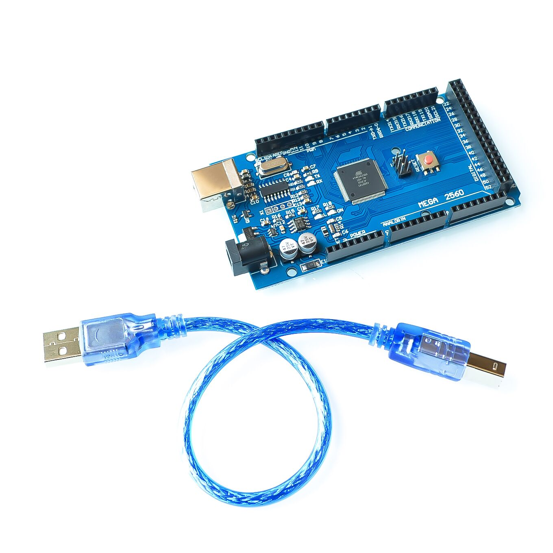 Free shiping 5sets Mega 2560 R3 Mega2560 REV3 ATmega2560 16AU Board USB Cable compatible for