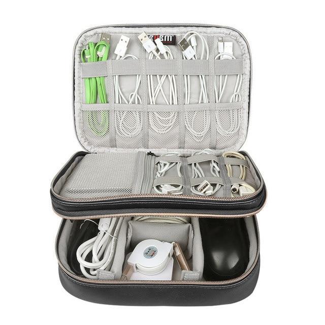 Doppel-schicht Reise Digital Speicher Tasche Große Kapazität Digitale Zubehör Ladegerät Daten Multi-funktion Kabel Lagerung Tasche