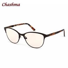 Chashma Brand Women Anti Blue Light Lenses Prescription Eyeglasses Yellow Driving Glasses Computer Working Cat Eye