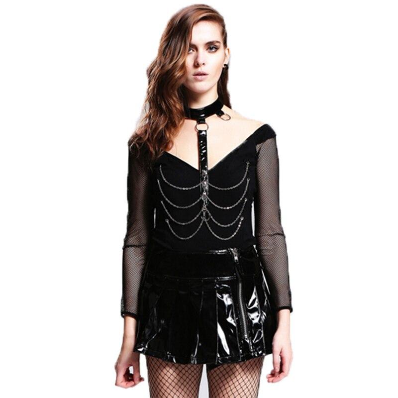 Steampunk T-shirt femmes noir haut en coton T-shirt gothique Punk Rock rue tricoté haut pour femme à manches longues col en V