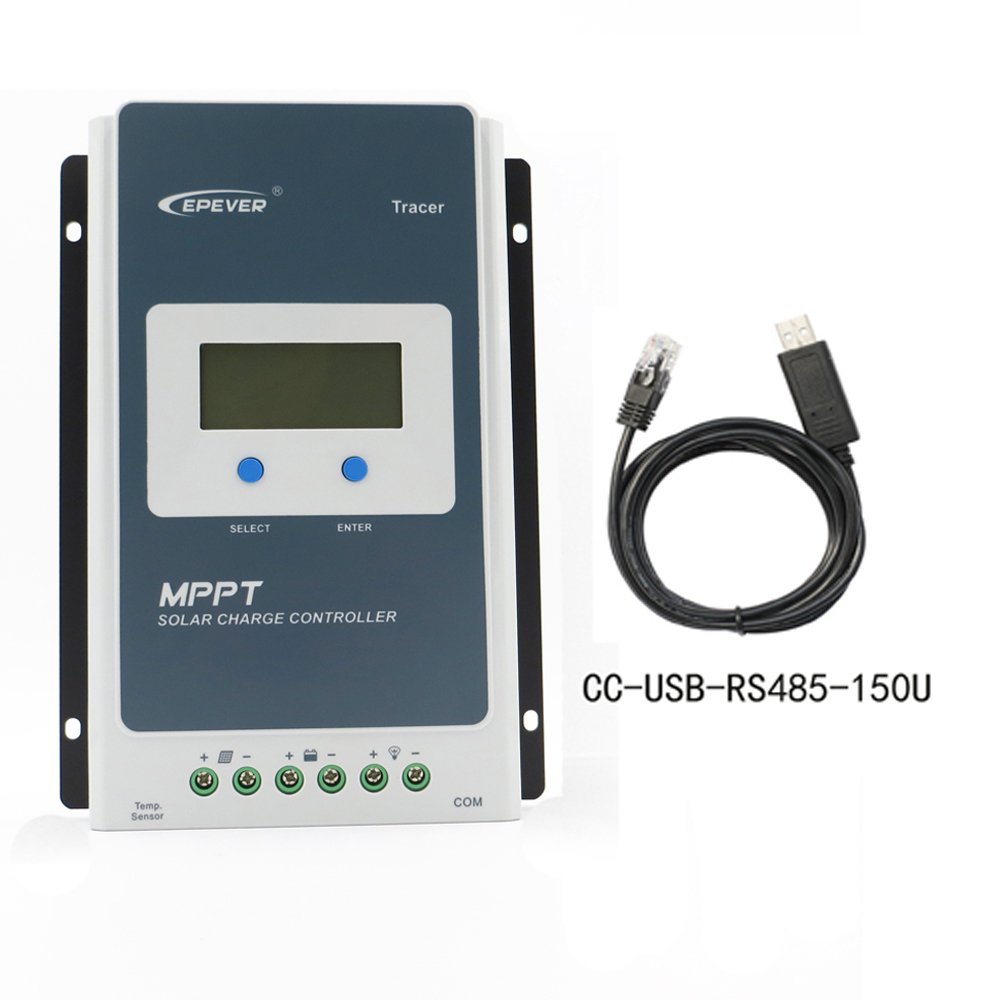 Tracer 2210AN MPPT Solar Charge Controller 12V/24V Voltage LCD Diaplay EPEVER 20A Regulator With Communcation PC Cable tracer2210an 2210an epsloar 20a mppt solar charge controller 12v 24v lcd diaplay 2210a tracer2210a
