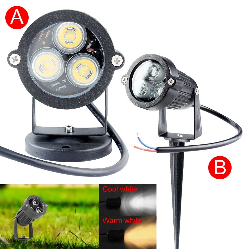 Garden LED Light 9W 3x3w IP65 Waterproof Outdoor lighting Pond path flood spot light Lawn Lamps 12V/AC 85-265V