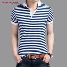 FIVE PANDA 2017 New Brand Fashion Cotton Stripe Shirts Polo Men Casual Turn-Down Collar Shirts Tops Plus Size Polos CMPL006