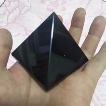 70mm natural obsidian quartz crystal pyramid black feng shui decoration gift