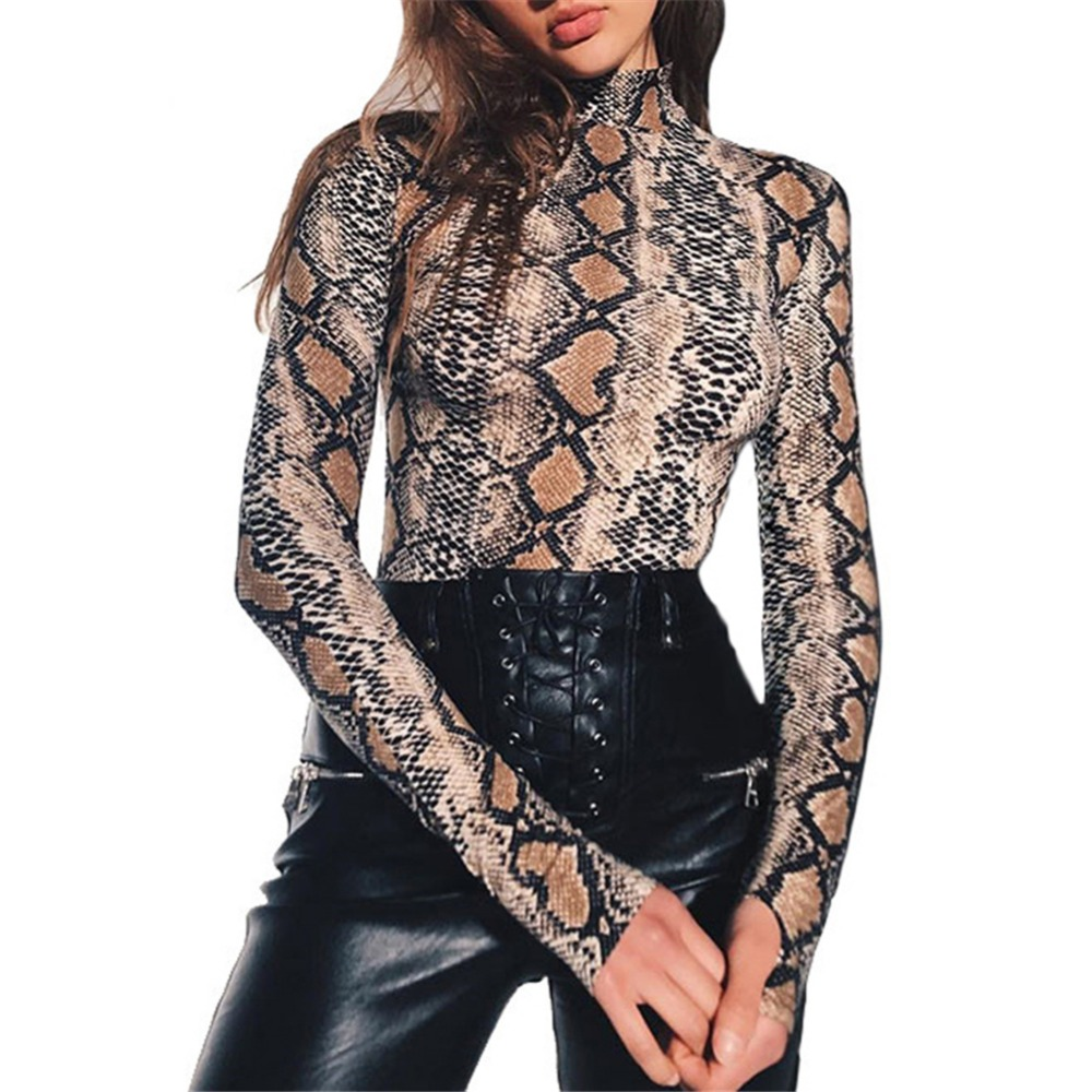 Bodysuits Body Women Fashion Spring And Autumn Long-sleeved   Jumpsuit   Sexy Snake Print Slim Ladies Bottoming Shirt Bodysuit Women