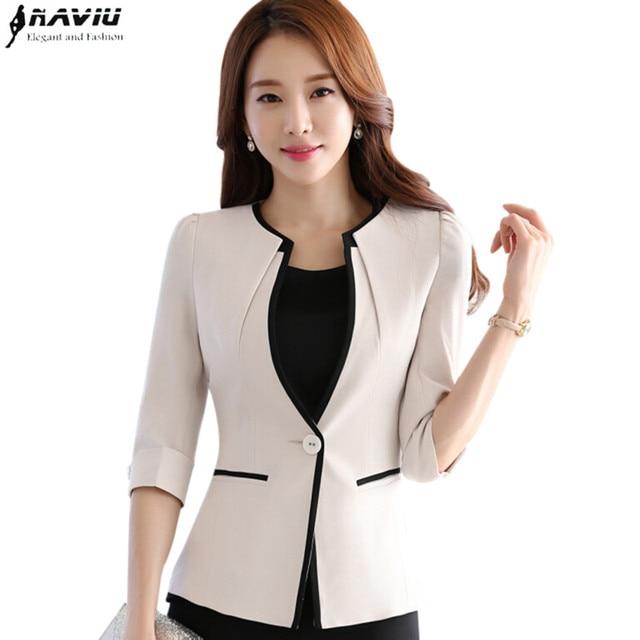 ab51f9d2179 Female career fashion half sleeve women blazer New plus size formal slim  jackets office ladies plus size work wear uniform