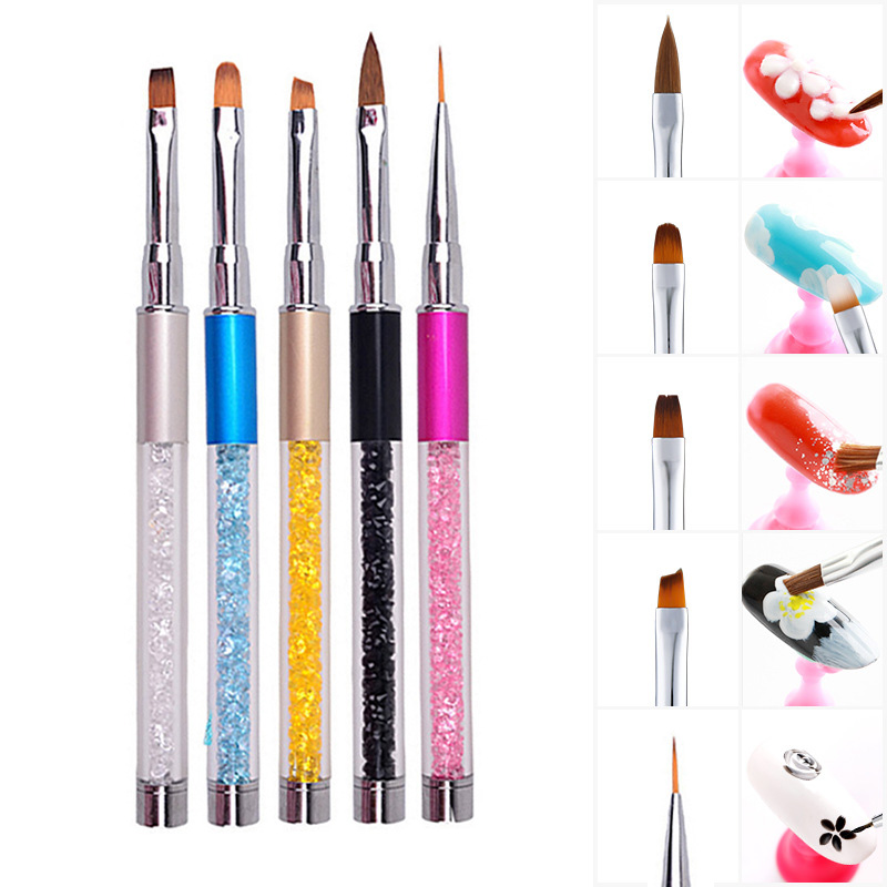 1pc Nail Art Brush Rhinestone Acrylic Pen Carving Naglar Tips Måla Poly Gel Tool Liner Franska Manikyr Tillbehör Ny Design