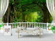 Custom 3d wallpaper nature landscape green big tree forest waterfall balcony background wall