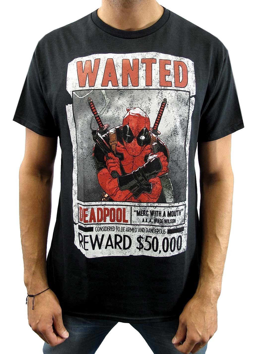 aed288fb944 Marvel Мужская Deadpool Wanted Armed and Dangerous черная футболка Новая  летняя хлопковая футболка с короткими рукавами