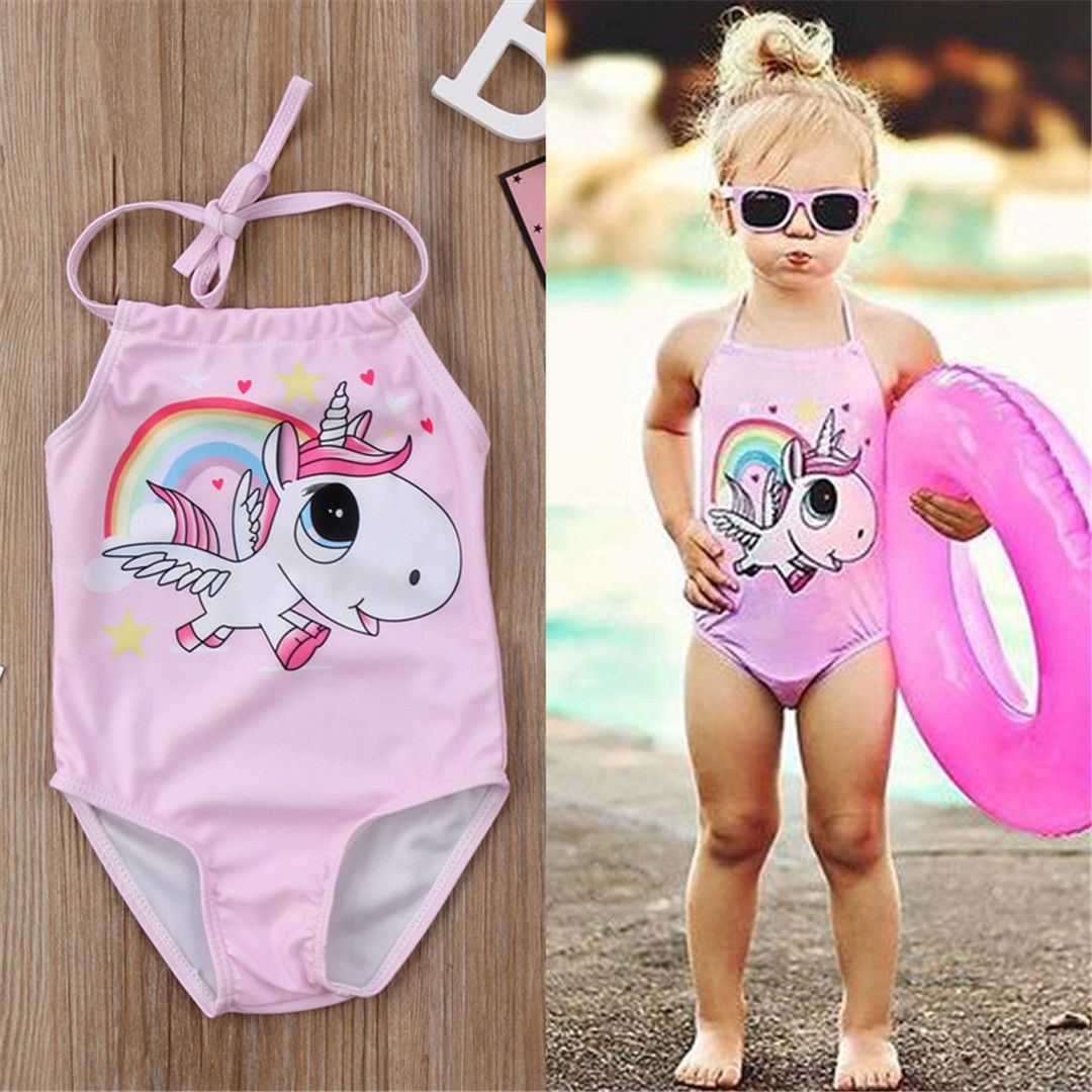Toddler Kids Baby Girls Unicorn BIkini Swimwear Swimsuit Bathing Suit Beachwear
