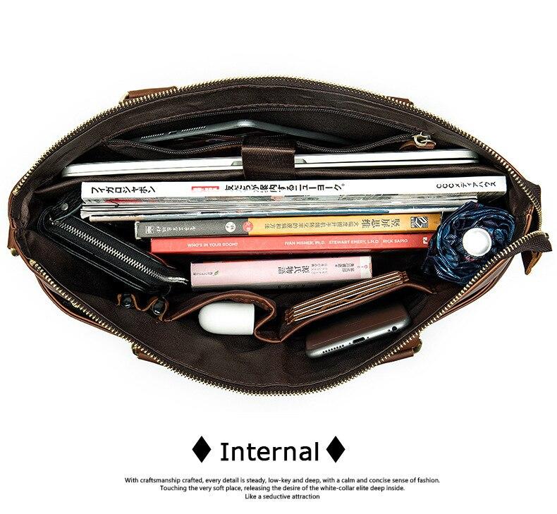 MVA Messenger Bag hommes sacs à bandoulière en cuir pochette d'ordinateur 14 pouces en cuir véritable hommes sacs pour Document travail sacs à main fourre-tout 7108 - 6