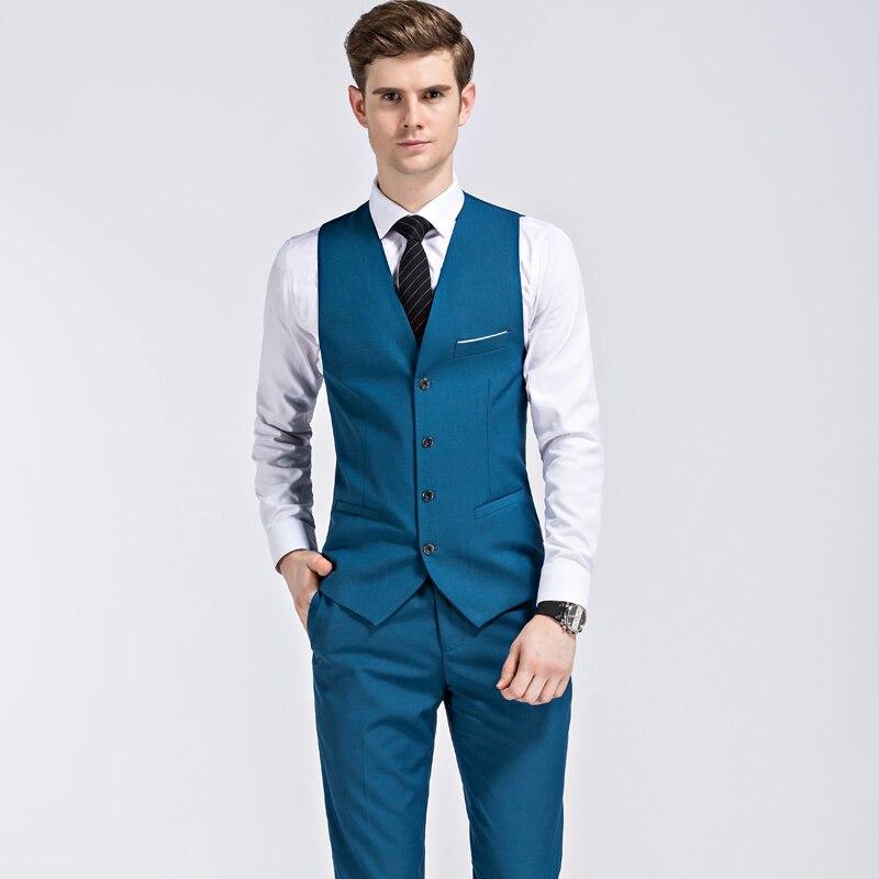 2019 ใหม่ seasons สไตล์บูติกชุดลำลองเจ้าบ่าวงานแต่งงานชุดสามชุด (เสื้อ + กางเกง + เสื้อกั๊ก) s 3XL-ใน สูท จาก เสื้อผ้าผู้ชาย บน   3