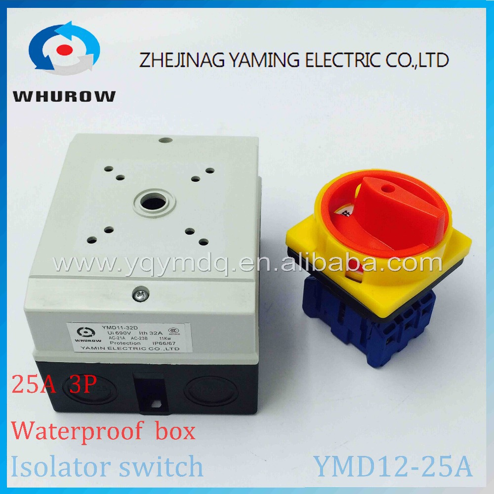 Isolator switch YMD12-25A 690V with protective box waterproof load break rotary changeover switch air-conditoning pump system 660v ui 10a ith 8 terminals rotary cam universal changeover combination switch