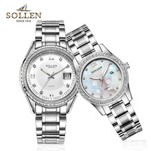 Sollen alta calidad los hombres del reloj del cuarzo del diamante de las mujeres tira relojes luminosos impermeable reloj de acero inoxidable