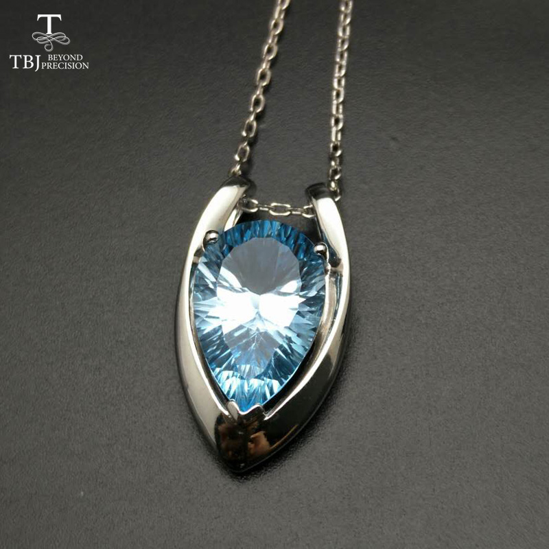 TBJ ,V shape pendant in 925 sterling silver with nautral SKY BLUE topaz concave cut with gift box,elegant design pendants