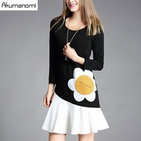 Spring Autumn Dress Round Collar Full Sleeve Black White Patchwork Sunflower Pocket Winter Dress Plus Size