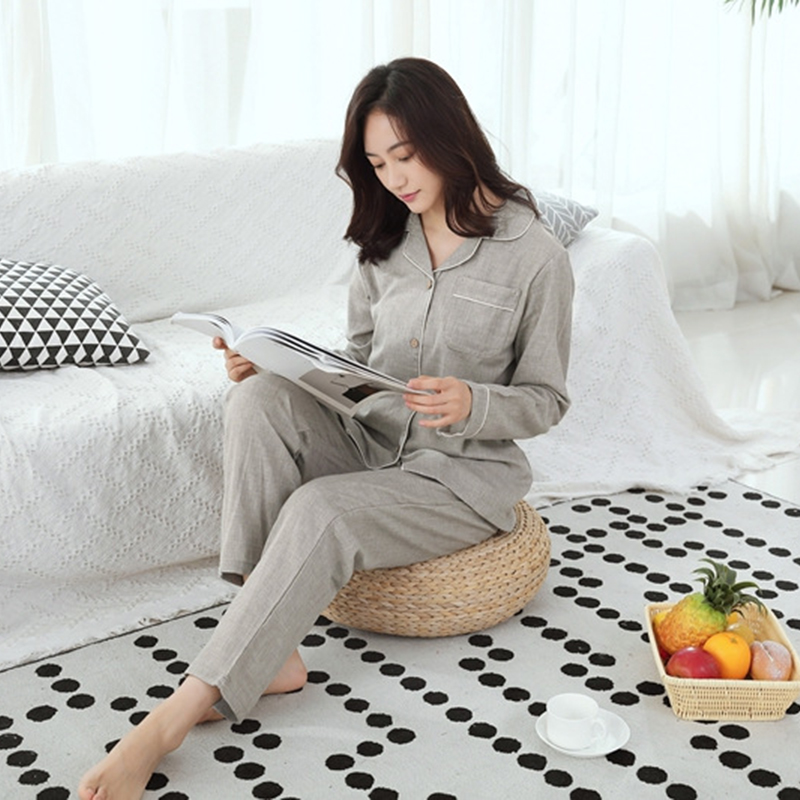 Casual Women's Sleep Lounge Pajamas Sets Cotton Yukata Bathrobe Loose Top and Pants Girl Nightgown Sleepwear Homewear Pyjamas