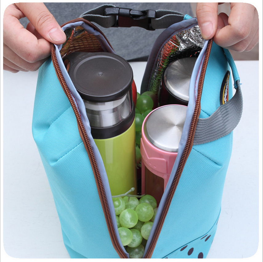 2017 Portable round Lunch Bags Canvas Handbag Thermal Cooler Insulated Picnic Bag Pouch Food Warmer Kit Hand Lunch Pouch