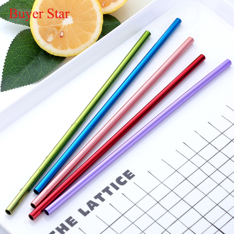 100 PCS/Set Metal Drinking Straws Reusable Colorful Stainless Steel Straw+20 Brush Metal Drink Yerba Juice Bar Accessorie Party