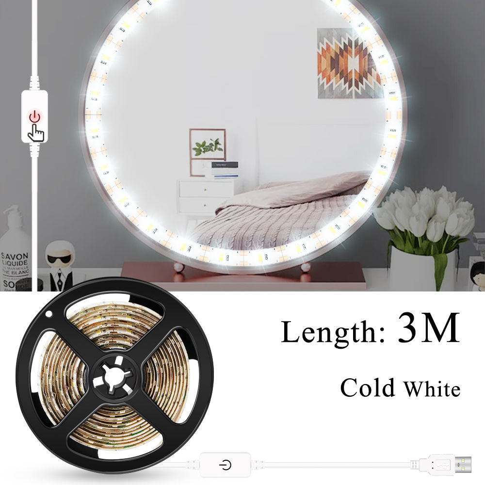 Makeup Vanity Mirror Light Strip Led USB Cable 5V Dimmable Dressing Table Lamp Tape Bathroom Make Up Cosmetic Mirror Lights Kit 3
