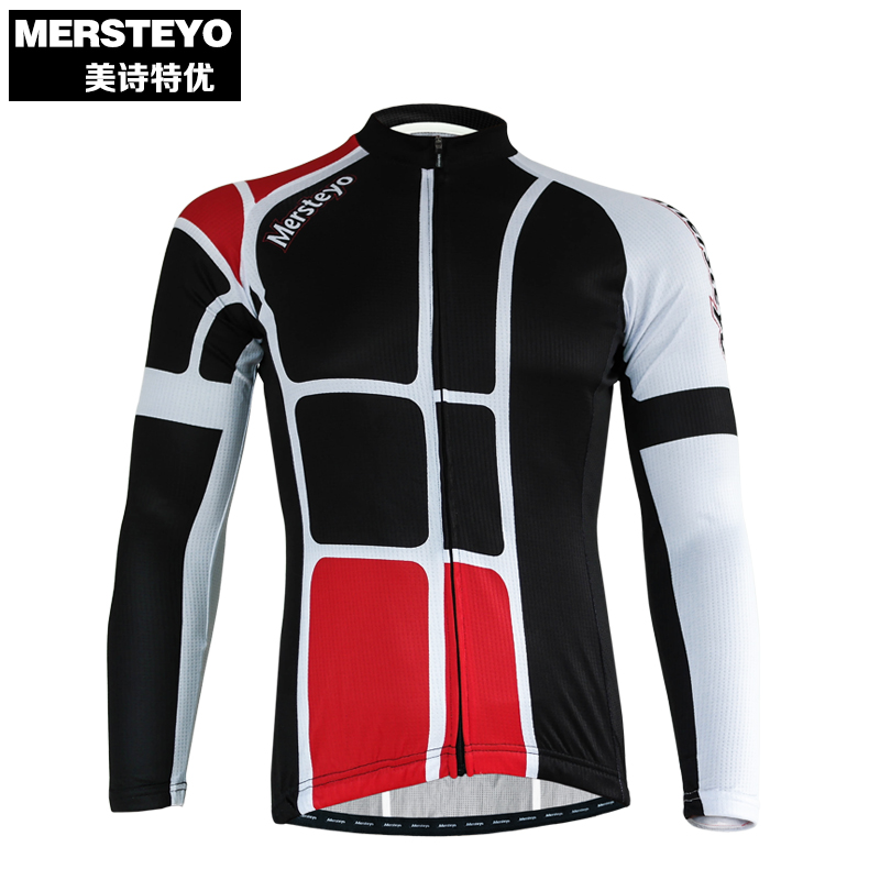 MERSTEYO Pro Men Bike jersey Long Sleeve Team Cycling clothing Red Black Male Riding Top MTB Wear Ropa Ciclismo Shirts Quick Dry