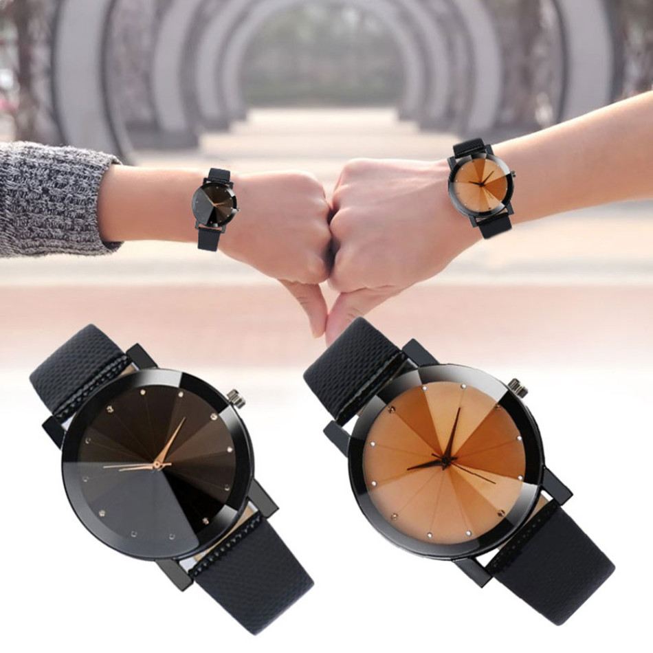 Romantic Couple Watch Expression For  Men And Women Gift Fashion Simple Stainless Steel Quartz Watch Black/Brown