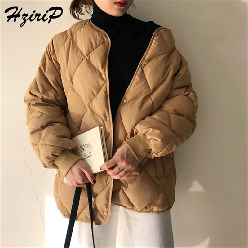 HziriP 2019 New Office Fashion Casual Winter Windbreaker Coat Women Warm Loose Cotton Coats Long Sleeve Outerwear High Quality