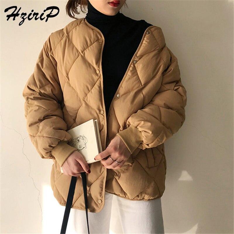HziriP 2019 New Office Fashion Casual Winter Windbreaker Coat Women Warm Loose Cotton Coats Long Sleeve Outerwear High Quality