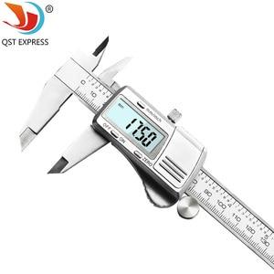 Image 2 - Suwmiarka cyfrowa 0 150mm 0.01mm ze stali nierdzewnej elektroniczne suwmiarki metryczne/calowe mikrometr narzędzia pomiarowe