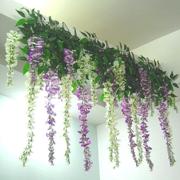 2016 Newly Arrival Artificial Flower Wisteria Home Garden Hanging Flowers Vine Wedding Plant Decor Free Shipping In Dried From