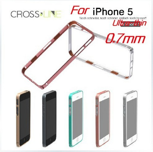 0.7mm Ultra thin hight qualtily cross line sp-5 Aluminum metal bumper case for iphone 5,MOQ:1pcs, Free Shipping,1001