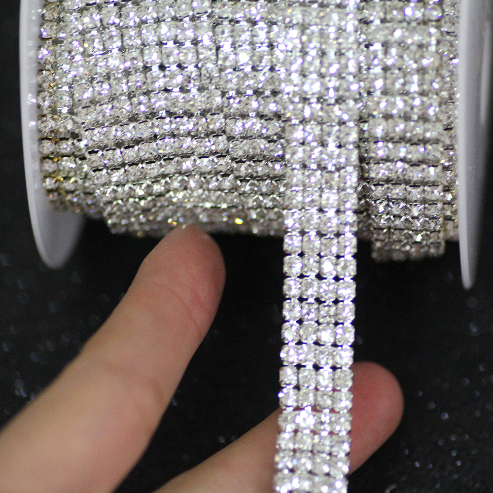 4 rows 12mm crystal Rhinestone cup chain Glass White Flatback rhinestone trim sew on rhinestone for Dress Clothing Decoration