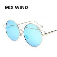 MIX WIND 2017 Metal Retro Round Frame Sunglasses 2017 Fashion Face 6 Color Reflective Sunglass Women