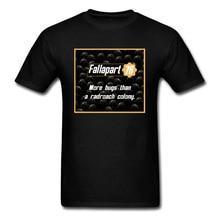 Fallout 4 T Shirt Fallapart 76 100% Cotton Men T-shirt 2019 Guys Game Tshirt Fashion Black Clothes Vault Boy Streetwear Slim Fit