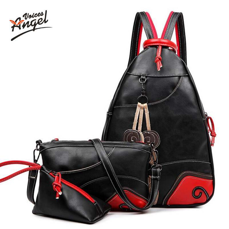 Angel Voices Women Backpack Big Girl Student Book Bag With Purse Laptop 3pcs Set Bag High