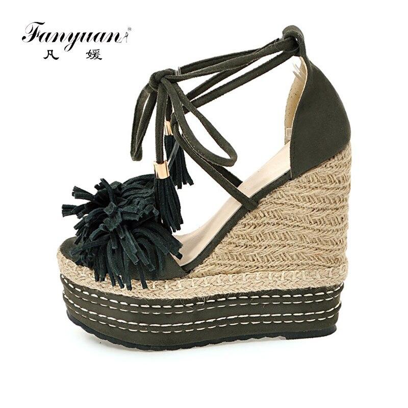 Fanyuan Footwear Woman Cross-Strap Sandals Platform Wedge Sandals Summer Peep Toe Very High Heels Lady Party Fringe Boho Sandals